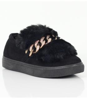 Loafers γυναικεία suede & γούνα AM605