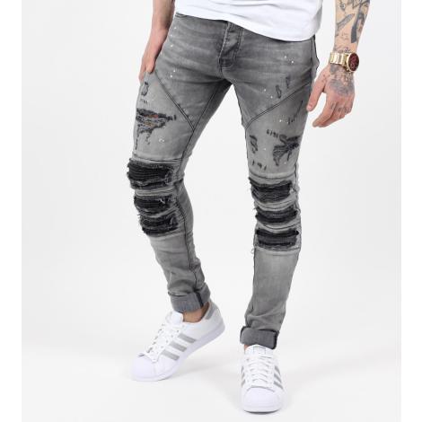 53db4d12f20 Ανδρικό παντελόνι τζιν με φθορές, σκισίματα και λευκές πιτσιλιές