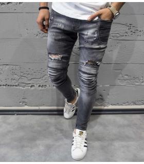 Παντελόνι jean ανδρικό slash & damaged B3234