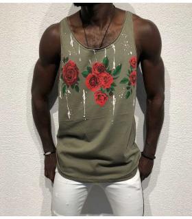 Αμάνικο ανδρικό Tshirt - roses - BL11918