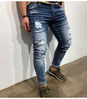 Παντελόνι jean ανδρικό damage & mini colour splash BL3214
