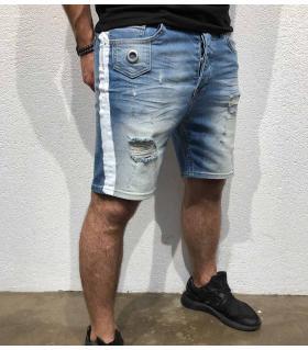 Σορτς jean ανδρικό white stripe BL3260