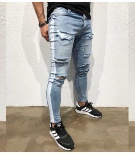 Παντελόνι jean ανδρικό white stripe BL3307