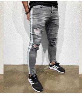 Παντελόνι jean ανδρικό white stripe BL3308