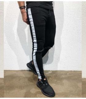 Παντελόνι jean ανδρικό white stripe BL3309