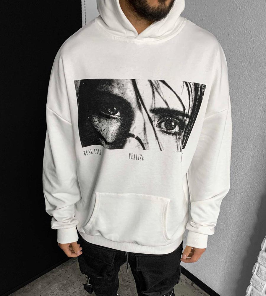 Μπλούζα φούτερ με κουκούλα -Real eyes- BL41176