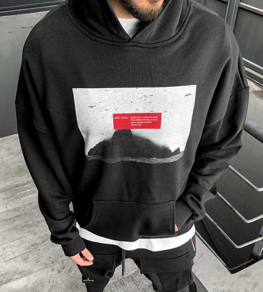 Μπλούζα φούτερ με κουκούλα -alone- BL41177