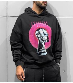Μπλούζα φούτερ με κουκούλα -ATTITUDE- BL41178
