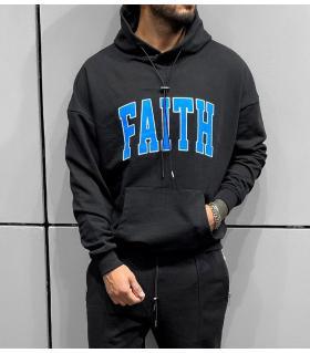 Μπλούζα φούτερ με κουκούλα -FAITH- BL41300