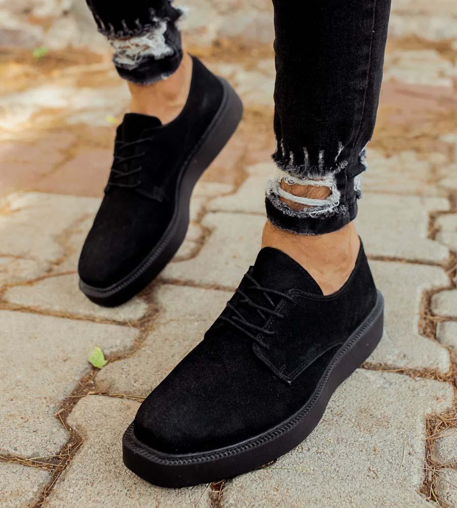 Ανδρικό παπούτσι suede με κορδόνι C001S