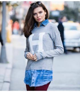 Μπλούζα πλεκτή γυναικεία με πουκάμισο CH0025