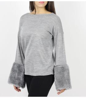 Μπλούζα γυναικεία με γούνα στα μανίκια CH3470
