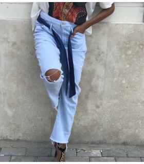 Παντελόνι jean γυναικείο με ζώνη CH553