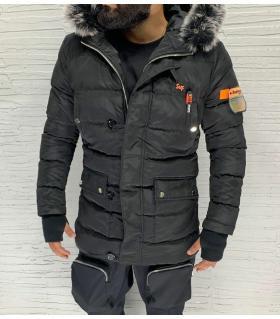 Μπουφάν ανδρικό με γούνα στην κουκούλα E1009