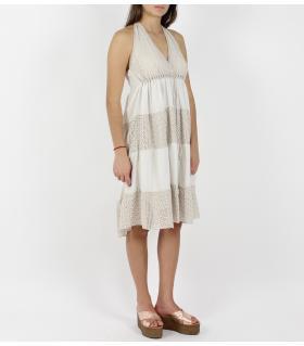 Φόρεμα μονόχρωμο με δαντέλα FE1018