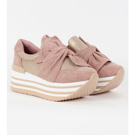 cda8df9d06c Δίπατα slip-on sneakers με φιόγκο, από συνδυασμό υλικών suede και διάτρητο  τεχνόδερμα