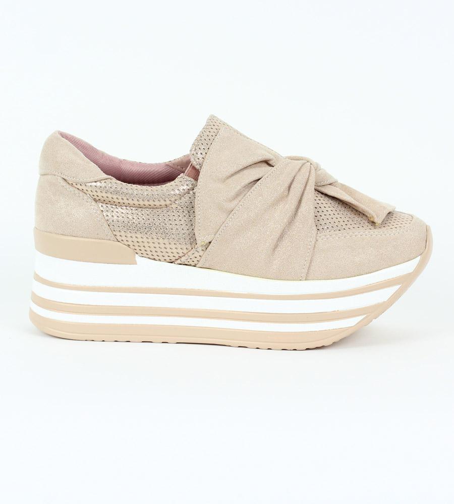 75b82d703e5 Δίπατα slip-on sneakers με φιόγκο, από συνδυασμό υλικών suede και ...