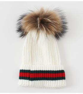 Σκουφάκι γυναικείο γούνινο pom-pom K002