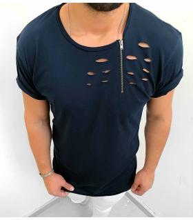 T-shirt ανδρικό zip & holes K1021