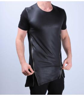 T-shirt ανδρικό zip and leather K2634