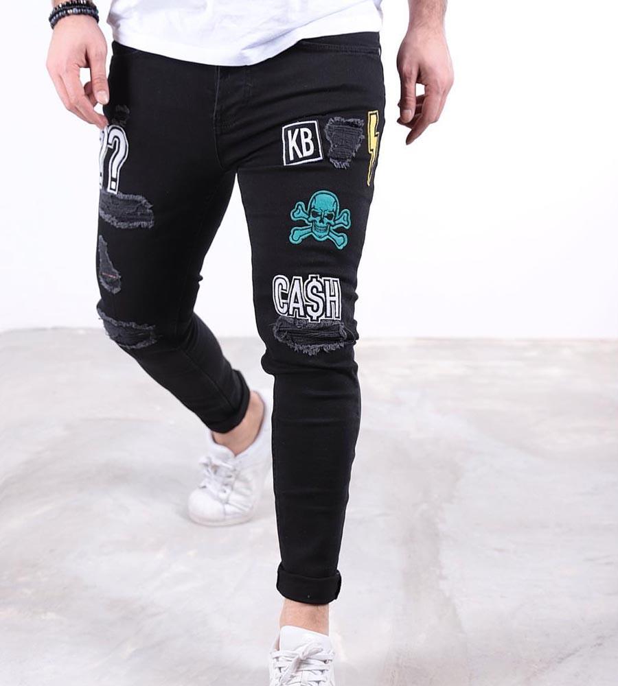 Παντελόνι jean ανδρικό stickers K319