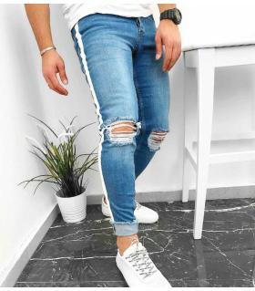 Παντελόνι jean ανδρικό white stripe K065