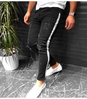 Παντελόνι jean ανδρικό damaged stripe K551
