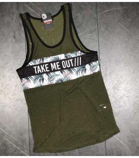 Αμάνικο ανδρικό Tshirt -take me out- LE4911