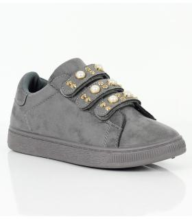 Sneakers γυναικεία suede με πέρλες LY8201