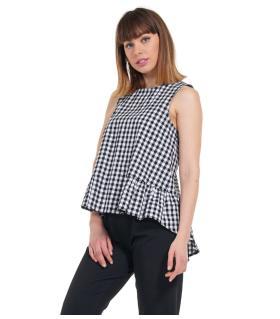 Μπλούζα αμάνικη καρό γυναικεία NewAge NAJ1050