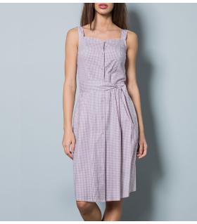 Φόρεμα καρό long γυναικείο με κουμπιά & ζώνη NewAge NAJ2002