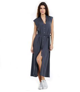 Φόρεμα long γυναικείο με κουμπιά & ζώνη NewAge NAJ2016