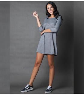 Φόρεμα ψαροκόκαλο μανίκι 3/4 NEW AGE NW4004