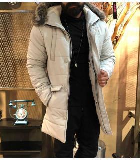 Μπουφάν με αποσπώμενη γούνα στην κουκούλα OP3063