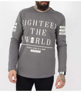 Μπλούζα φούτερ ανδρική the world PE9509